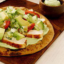 Grilled Chicken Pitas with Avocado-Yogurt and Chopped Salad